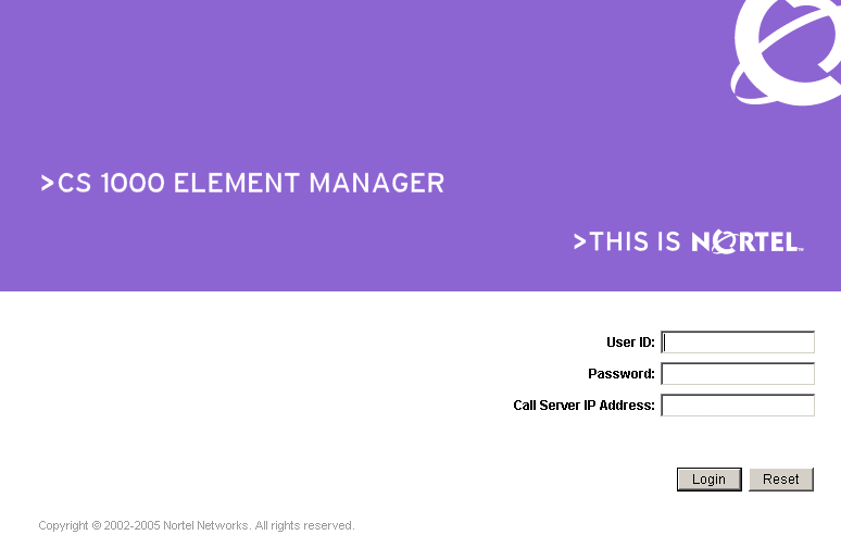 Element Manager Logon