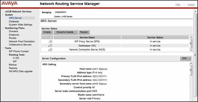 CS1000E Rls  7 5 Installation - Configure NRS