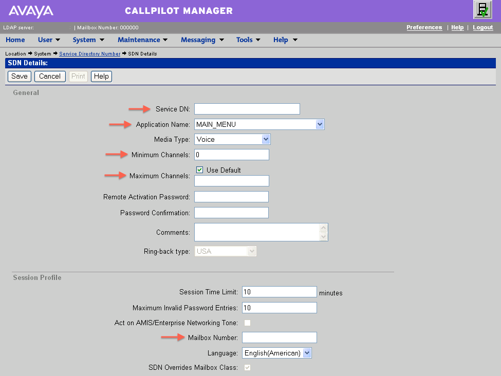 Service Directory Numbers