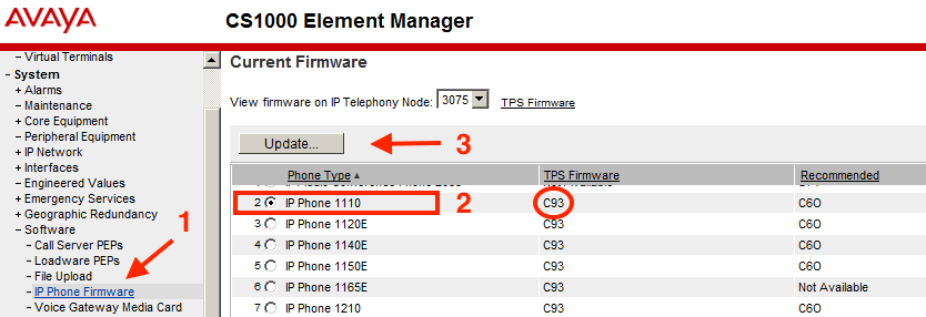 IP Phone Firmware in Element Manager