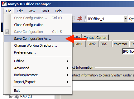 Backup IP Office Configuration