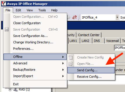 Restore IP Office Configuration