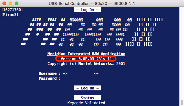 MIRAN Logon screen showing application version